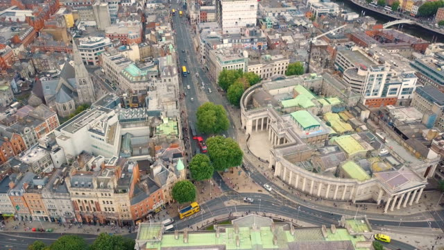 Aerial view of Dublin city center with Bank of Ireland, College green, Temple Bar, and heavy traffic / Ireland