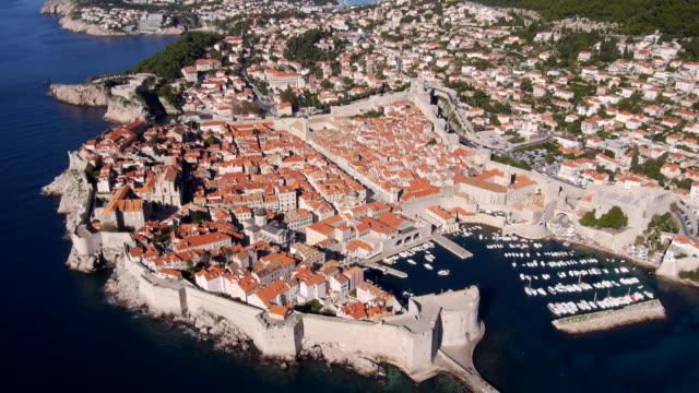 aerial view of dubrovnik in croatia and coastline - croatia stock videos & royalty-free footage