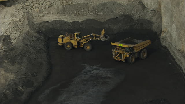 aerial view of dump truck and front loader in coal mine - coal mine stock videos & royalty-free footage