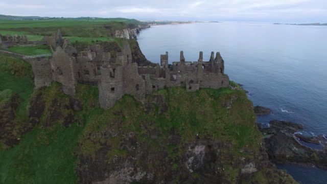 Aerial view of Dunluce Castle. County Antrim, Northern Ireland.