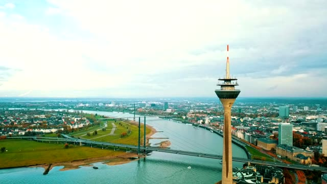 aerial view of dusseldorf - germany - river rhine stock videos and b-roll footage