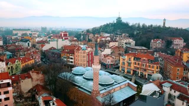aerial view of dzhumaya mosque / plovdiv - bulgaria - eastern european culture stock videos & royalty-free footage