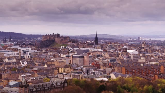 Aerial View of Edinburgh on Overcast Day