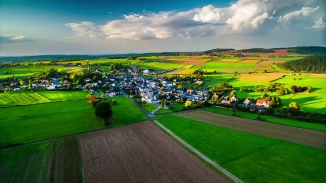 Aerial view of Eifel mountain range with idyllic village