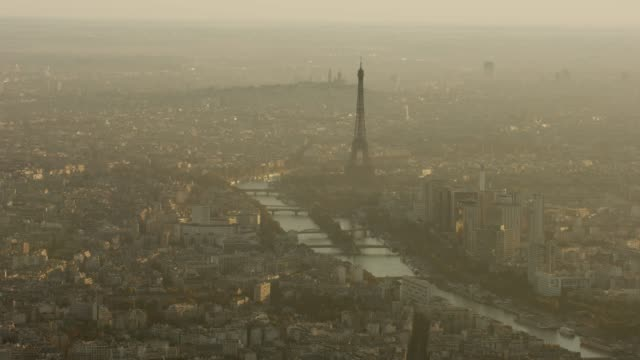 aerial view of eiffel tower and surrounding area in paris france at sunrise - river seine stock videos & royalty-free footage