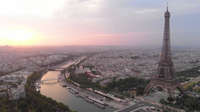 aerial view of eiffel tower - skyline stock videos & royalty-free footage
