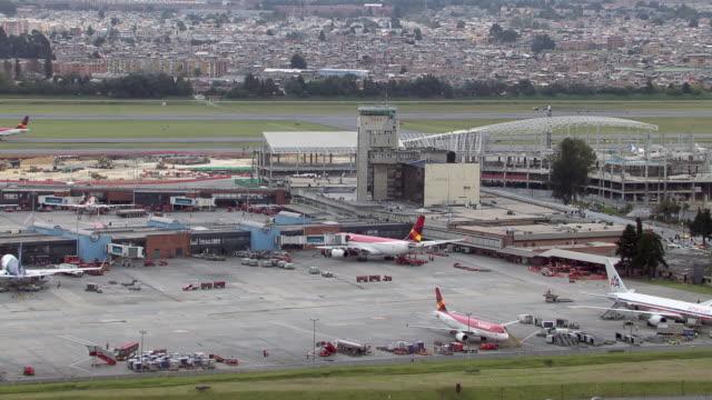 aerial view of el dorado international airport in bogota, colombia - bogota stock videos & royalty-free footage