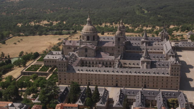 ws aerial view of el escorial palace near madrid, red r3d 4k - palace stock videos & royalty-free footage