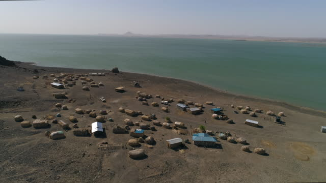 Aerial view of el molo village at lake turkana, Kenya