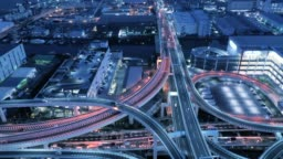 Aerial view of elevated highway at night