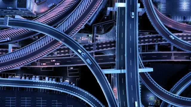 aerial view of elevated highway at night - motorway stock videos & royalty-free footage
