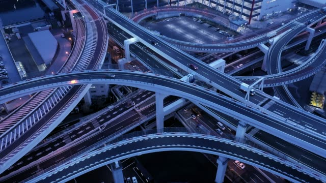aerial view of elevated highway at night - roadworks stock videos & royalty-free footage