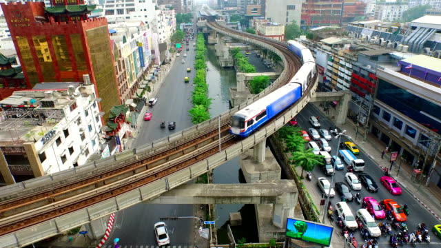 aerial view of elevated train in bangkok city - coastal feature stock videos & royalty-free footage