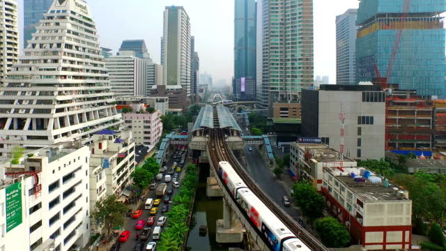 aerial view of elevated train in bangkok city - bangkok stock videos & royalty-free footage
