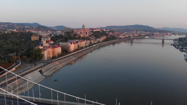 aerial view of elisabeth bridge and danube river in budapest - traditionally hungarian stock videos & royalty-free footage