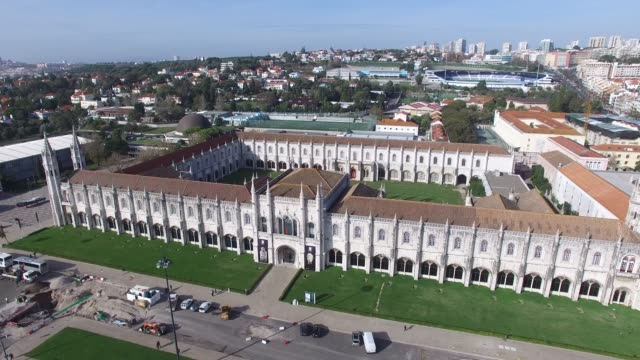 aerial view of empire square and jeronimos monastery, lisbon - mosteiro dos jeronimos stock videos and b-roll footage