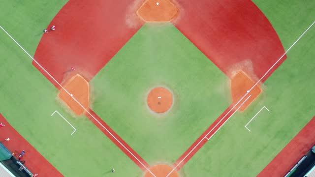 aerial view of empty baseball diamond - baseball diamond stock videos & royalty-free footage