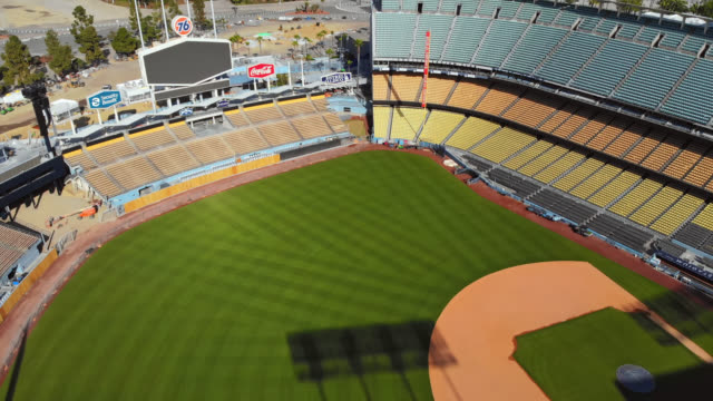 aerial view of empty dodger stadium due to covid-19 pandemic. - stadio video stock e b–roll
