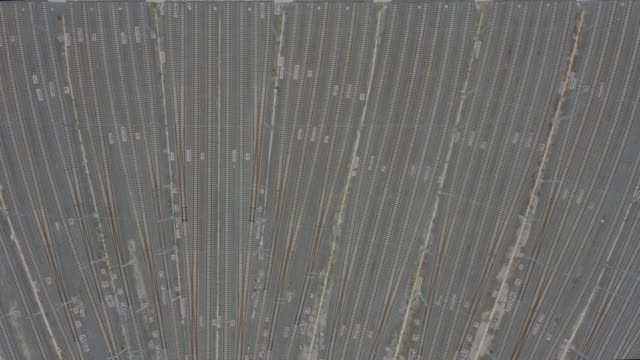 aerial view of empty railroad tracks - liyao xie stock videos & royalty-free footage