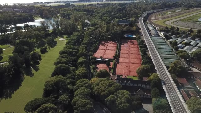 aerial view of empty tennis courts on april 14, 2020 in buenos aires, argentina. national government extended obligatory isolation until april 26.... - buenos aires province stock videos & royalty-free footage