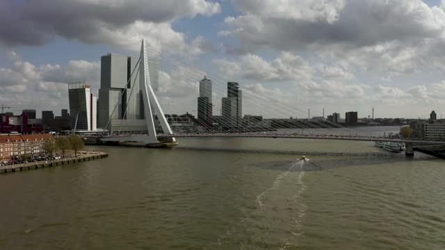 aerial view of erasmus bridge and de rotterdam building in rotterdam - bascule bridge stock videos & royalty-free footage