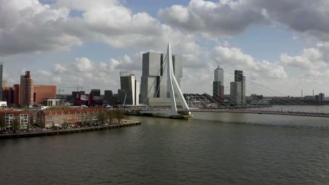 aerial view of erasmus bridge in rotterdam - bascule bridge stock videos & royalty-free footage