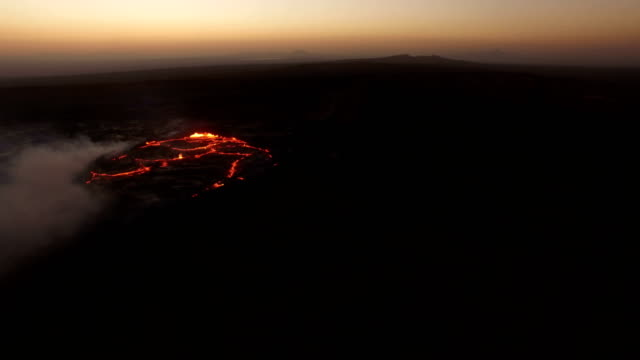 aerial view of erta ale volcanic activity (active basaltic shield volcano) and surrounding - ale stock videos & royalty-free footage