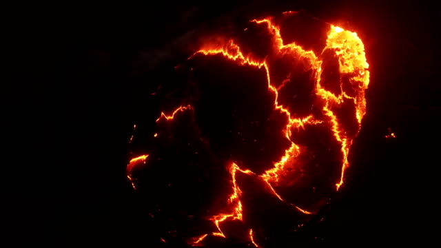 aerial view of erta ale volcanic activity (active basaltic shield volcano) at night - lava stock-videos und b-roll-filmmaterial