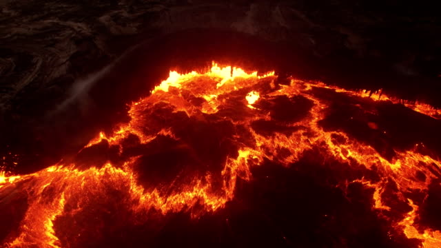 aerial view of erta ale volcanic activity (active basaltic shield volcano) - volcano stock videos & royalty-free footage