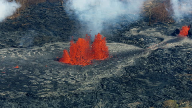 aerial view of erupting fissures liquid lava rock - tectonic stock videos & royalty-free footage