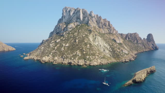 aerial view of es vedra island near ibiza - balearic islands stock videos and b-roll footage