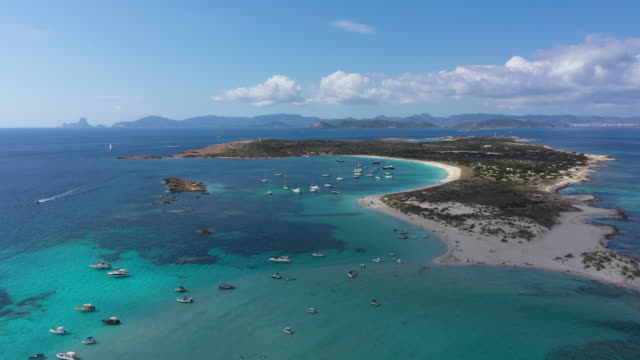 aerial view of espalmador island at sunset, ibiza. balearic islands, spain - anchored stock videos & royalty-free footage