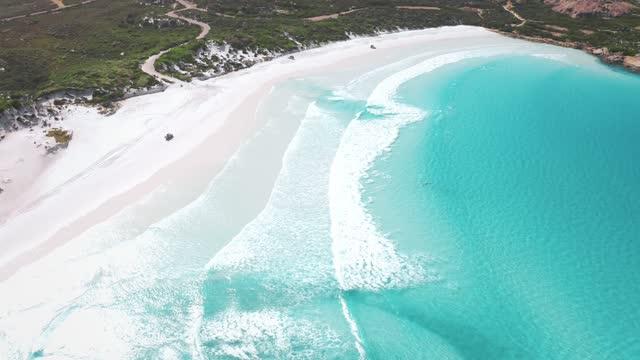 vidéos et rushes de aerial view of esperance western australia - 4k drone - multicolore