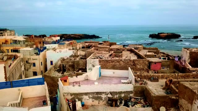 aerial view of essaouira - morocco - unesco world heritage site stock videos & royalty-free footage
