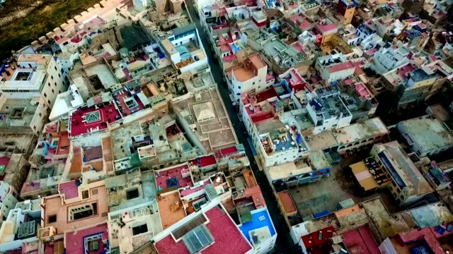aerial view of essaouira - morocco - old town stock videos & royalty-free footage