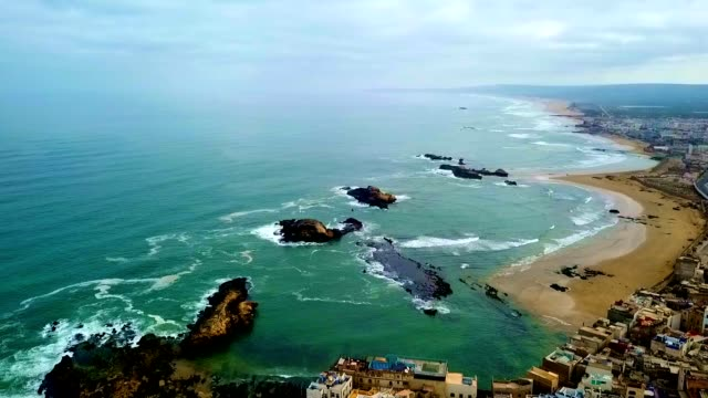 aerial view of essaouira - morocco - social history stock videos & royalty-free footage