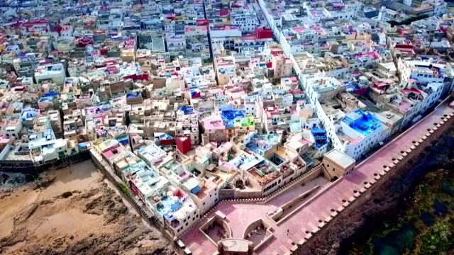 aerial view of essaouira - morocco - incidental people stock videos & royalty-free footage