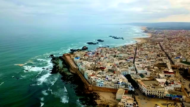 aerial view of essaouira - morocco - middle eastern culture stock videos & royalty-free footage