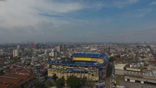 aerial view of estadio alberto j. armando on september 13, 2018 in buenos aires, argentina. - ラボカ点の映像素材/bロール