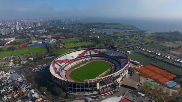 aerial view of estadio monumental antonio vespucio liberti on september 19 2018 in buenos aires argentina - argentina stock videos & royalty-free footage