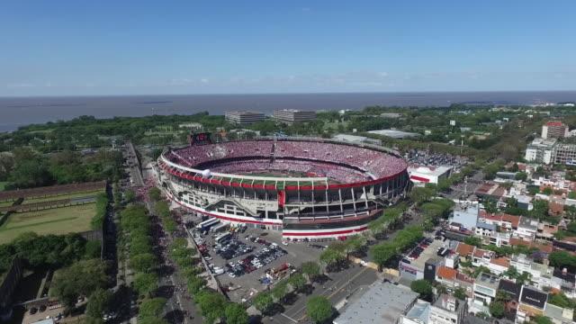 aerial view of estadio monumental antonio vespucio liberti on september 19, 2018 in buenos aires, argentina. - buenos aires stock videos & royalty-free footage