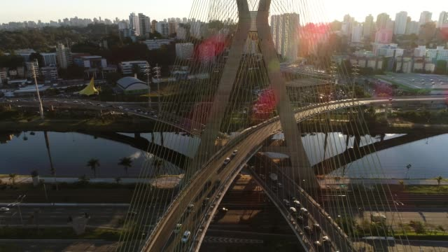 aerial view of estaiada bridge and skyscrapers in marginal pinheiros, sao paulo, brazil - cable stayed bridge stock videos & royalty-free footage
