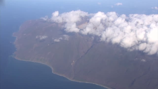 Aerial view of Etorofu Island also called Iturup by Russia one of the Kuril Islands