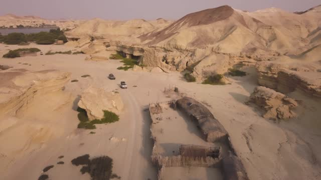 aerial view of expedition of jeeps, camp in iona national park, angola - national park stock videos & royalty-free footage