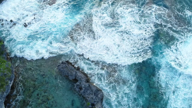 aerial view of exposed coral reef on niue island - polynesia stock videos & royalty-free footage