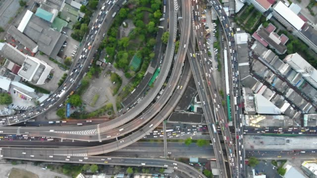 aerial view of expressway road intersection - cross section stock videos & royalty-free footage