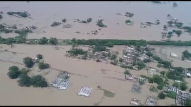 Aerial view of extensive flooding in Bihar India