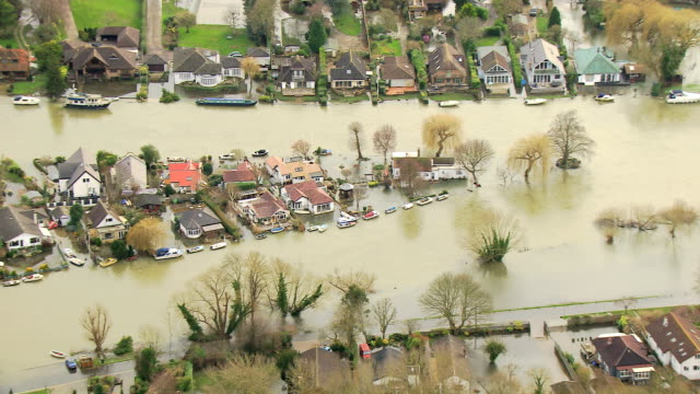 aerial view of extensive river flooding surrey uk - flood stock videos & royalty-free footage