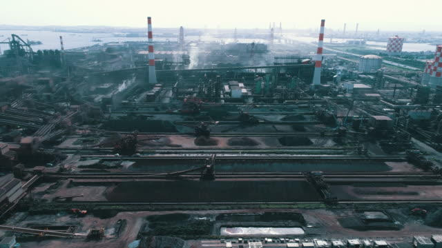 aerial view of factory - gas pipe stock videos and b-roll footage