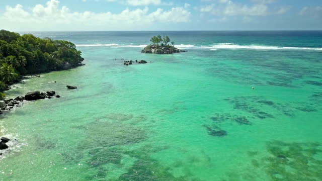 Aerial view of Fairyland beach and Souris Island - Anse Royale - Mahe
